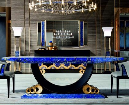 Tiffany Luxury Lapis Lazuli Crystal Dining Table