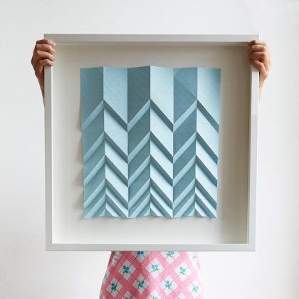 Framed origami artwork