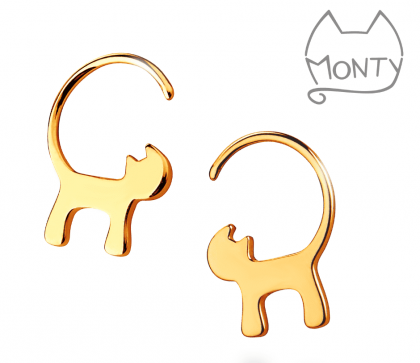 Gold plated cat earrings