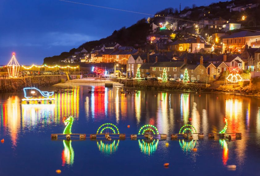 Cornwall Christmas lights at Mousehole Harbour