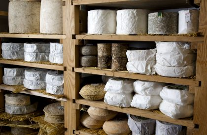 Cheeses on display at Paxton & Whitfield