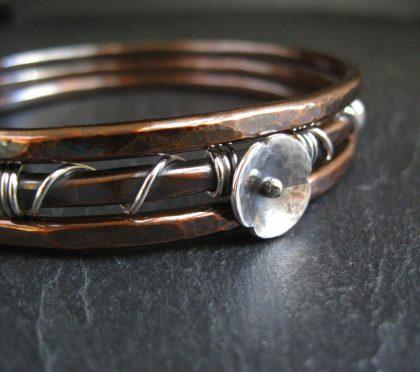 9th anniversary copper bangle set