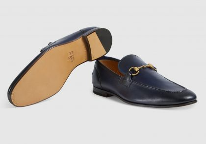 Gucci blue leather loafers