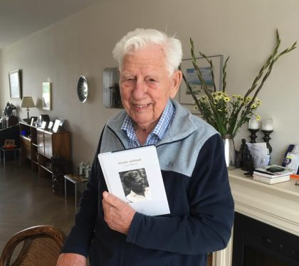 90 year old holding Story Terrace biographical book