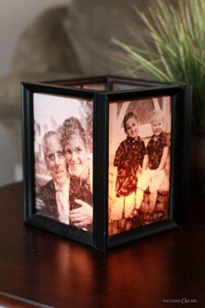 Homemade picture frame luminaries