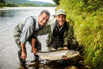 Salmon fishing on the River Orkla in Norway