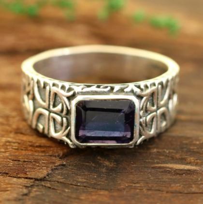 Iolite men's ring