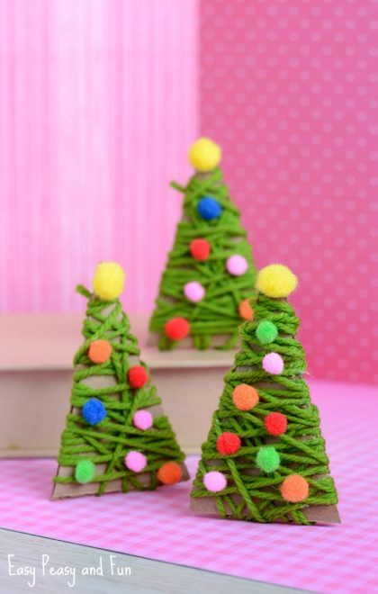 Yarn Wrapped Christmas Tree Ornament Christmas Crafts for Kids
