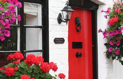 Christmas cottage front door in Bray