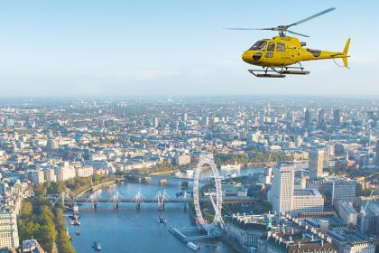 Helicopter ride over London skyline