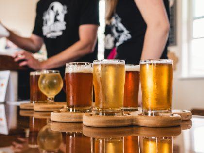 Samples of assorted beer for Belgian beer tasting experience