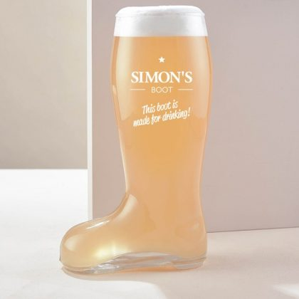 Personalised beer boot glass