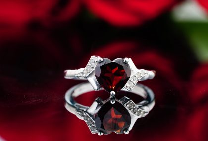 Heart shaped ruby ring for ruby anniversary