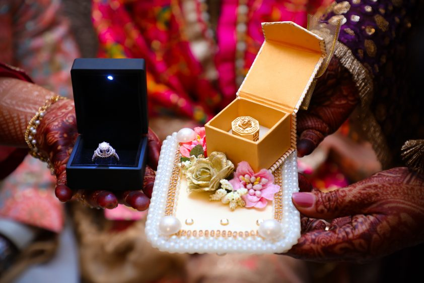 Diamond rings exchanged at Indian wedding ceremony