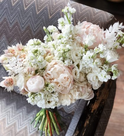White flower bouquet for 60th wedding anniversary