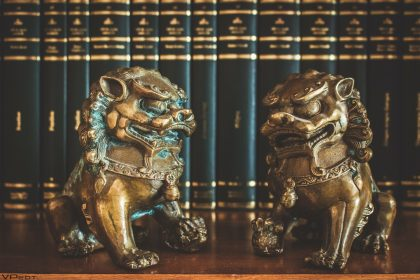 Brass chinese lion sculptures