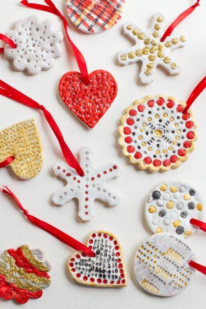 Salt dough ornaments DIY Christmas crafts for kids