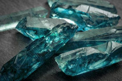 Uncut raw blue aquamarines