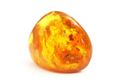 Transparent beautiful and bright piece of yellow amber amber