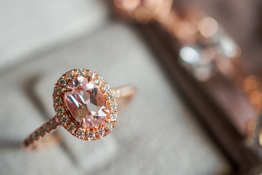Padparadscha sapphire engagement ring in jewellery box