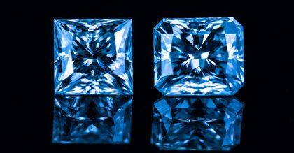 Dazzling real blue diamonds