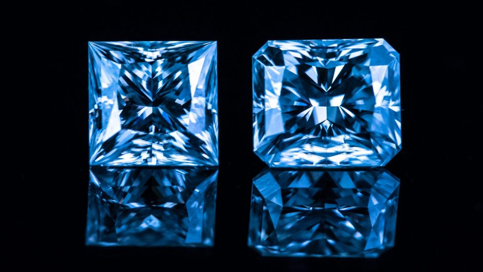 Dazzling real blue diamonds