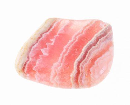 Polished pink rhodochrosite gem stone