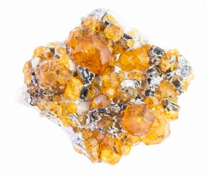 Raw yellow garnet spessartine crystals