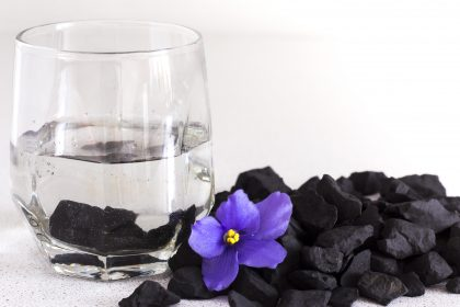 Shungite stones in a glass of water for cleaning and feeding water