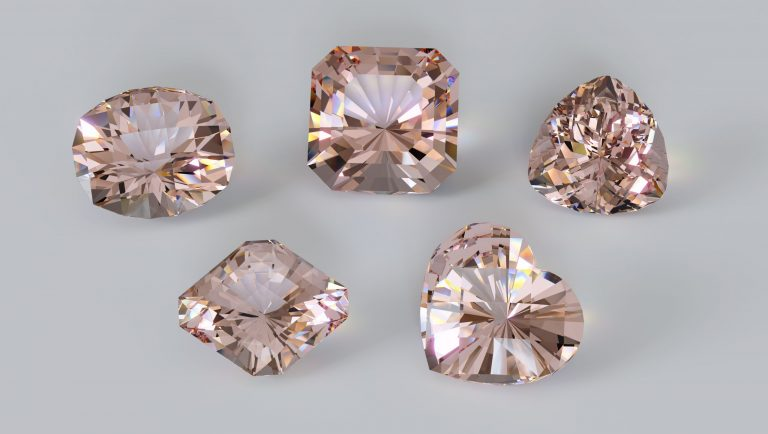 Five morganites gemstones