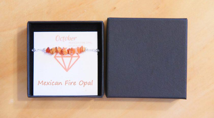 Mexican Fire Opal on Bracelet