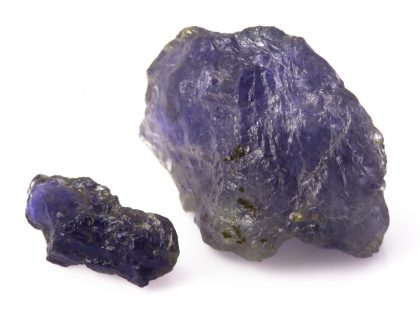 Raw purple iolite gemstone