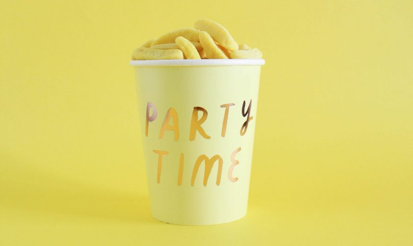 Birthday cup labeled party time