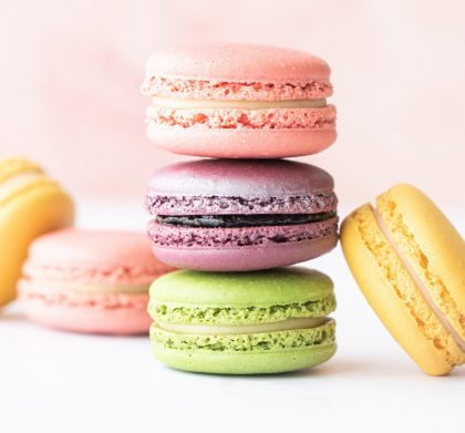 Brightly coloured macarons for thank you gift