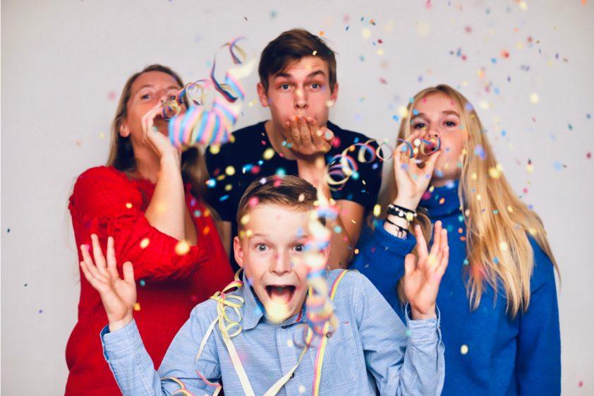 Cousins celebrating male cousins birthday