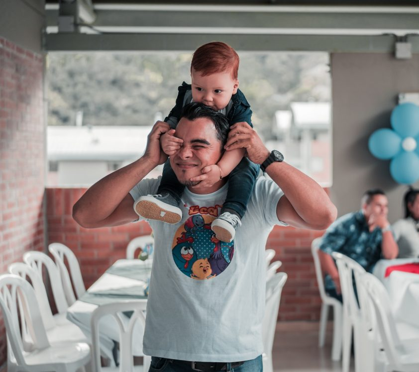 New father celebrating his birthday with his son