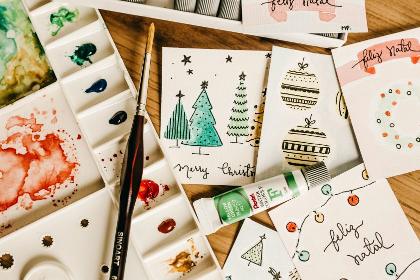 Home-made painted Christmas cards