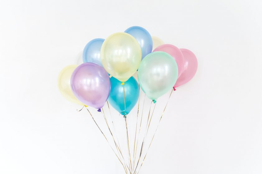 Coloured birthday balloons