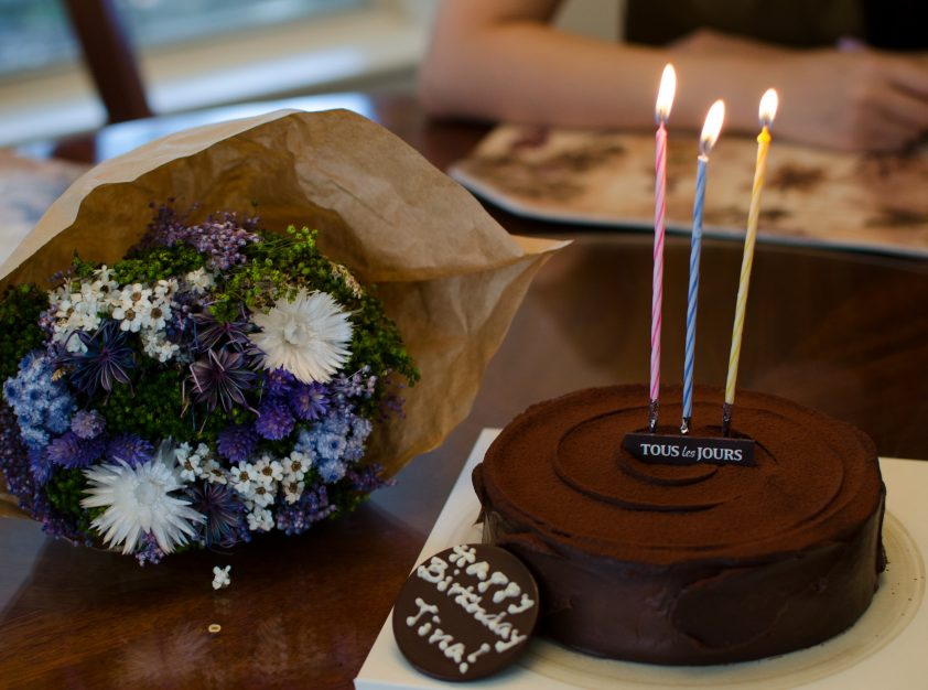 Birthday cake with candles and flowers