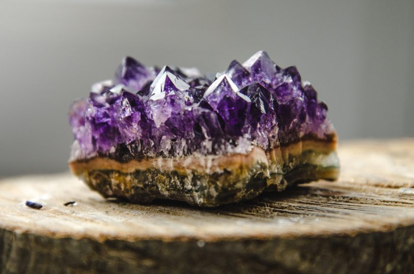 Raw violet amethyst rock