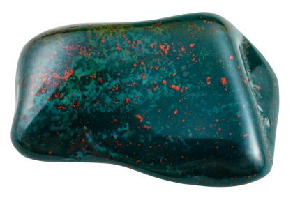 tumbled heliotrope (bloodstone, green jasper or chalcedony with red inclusions of hematite) gemstone isolated on white background