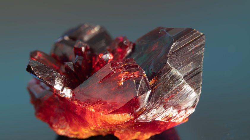 Natural raw red garnet crystal.
