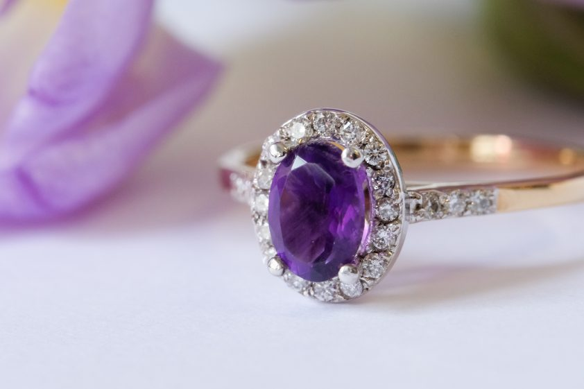 amethyst and diamond engagement ring