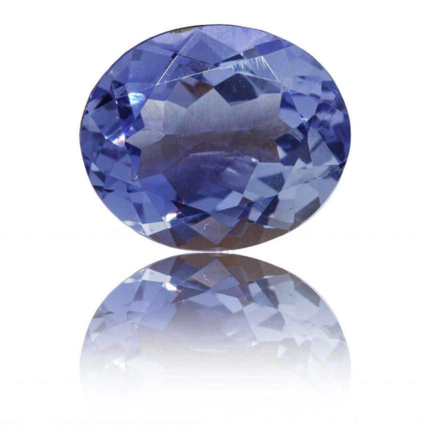 close-up of cut iolite (cordierite) stone