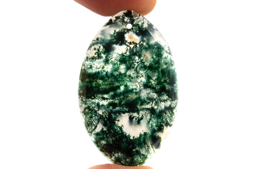 Close-up of moss agate stone details