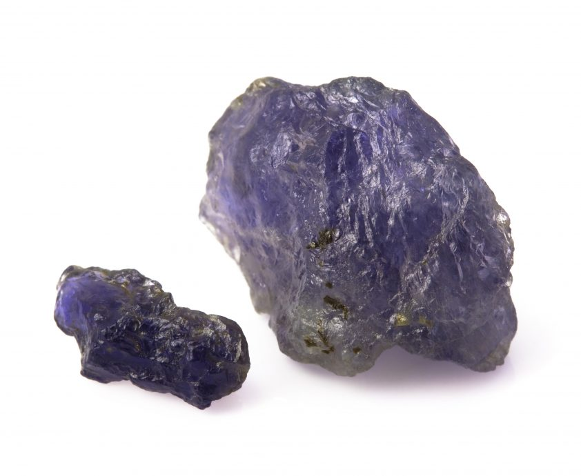 Raw blue iolite gemstones