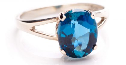 Ring with London blue topaz