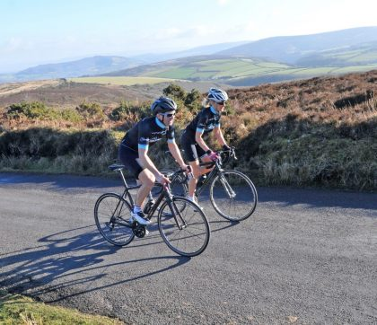 Two men cycling in Exmoor National Park