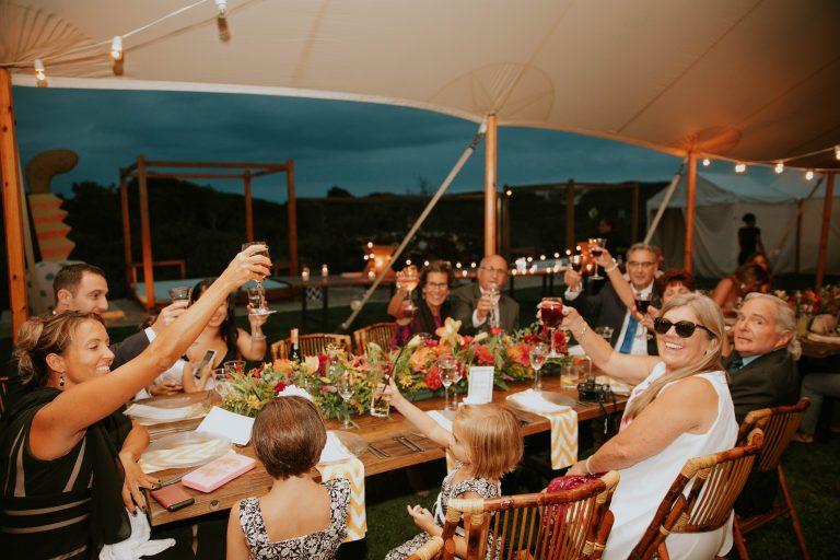 extended family having dinner together
