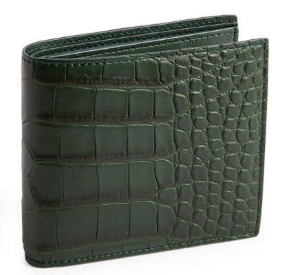 Alligator leather bifold wallet by Bottega Veneta